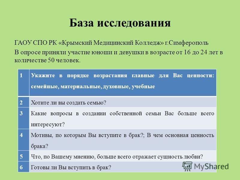 База исследования ГАОУ СПО РК «Крымский Медицинский Колледж» г.Симферополь В опросе приняли участие юноши и девушки в возрасте от 16 до 24 лет в количестве 50 человек. 1 Укажите в порядке возрастания главные для Вас ценности: семейные, материальные,