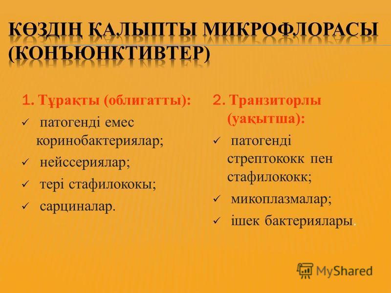 1. Тұрақты (облигатные): патогенді емс коринобактериялар; нейссериялар; тері стафилококк; сарциналар. 2. Транзиторлы (уақытша): патогенді стрептококк пен стафилококк; микоплазмалар; ішек бактерия лары.