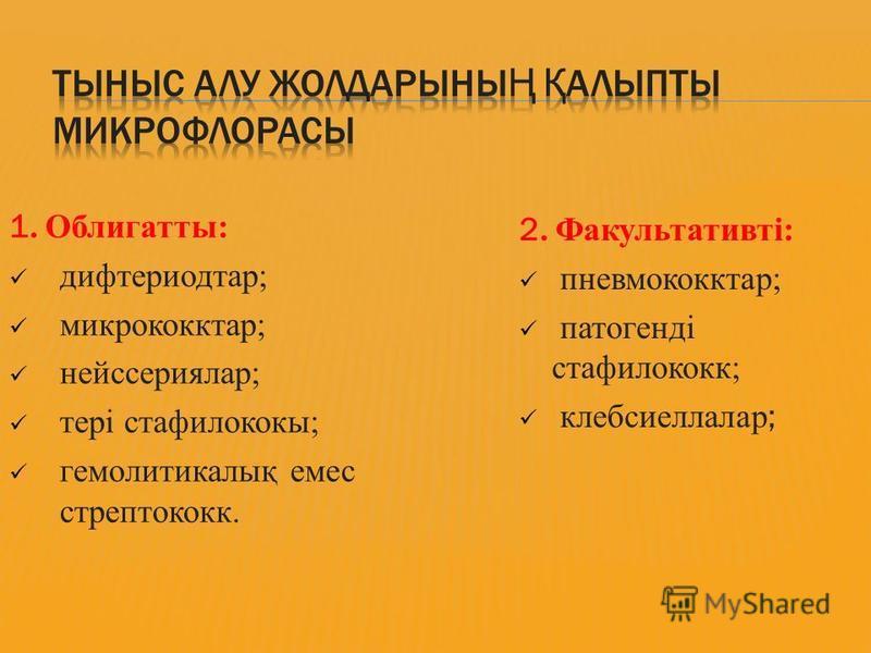 1. Облигатты: дифтериодтар; микрококктар; нейссериялар; тері стафилококк; гемолитикалық емс стрептококк. 2. Факультативті: пневмококктар; патогенді стафилококк; клебсиеллалар ;