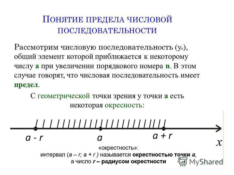 П ОНЯТИЕ ПРЕДЕЛА ЧИСЛОВОЙ ПОСЛЕДОВАТЕЛЬНОСТИ Рассмотрим числовую последовательность (у n ), общий элемент которой приближается к некоторому числу а при увеличении порядкового номера n. В этом случае говорят, что числовая последовательность имеет пред