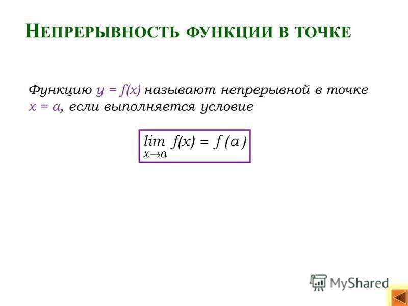 Н ЕПРЕРЫВНОСТЬ ФУНКЦИИ В ТОЧКЕ Функцию y = f(x) называют непрерывной в точке x = a, если выполняется условие