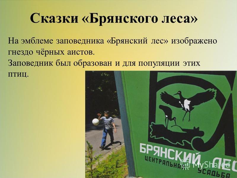 Сказки «Брянского леса» На эмблеме заповедника «Брянский лес» изображено гнездо чёрных аистов. Заповедник был образован и для популяции этих птиц.