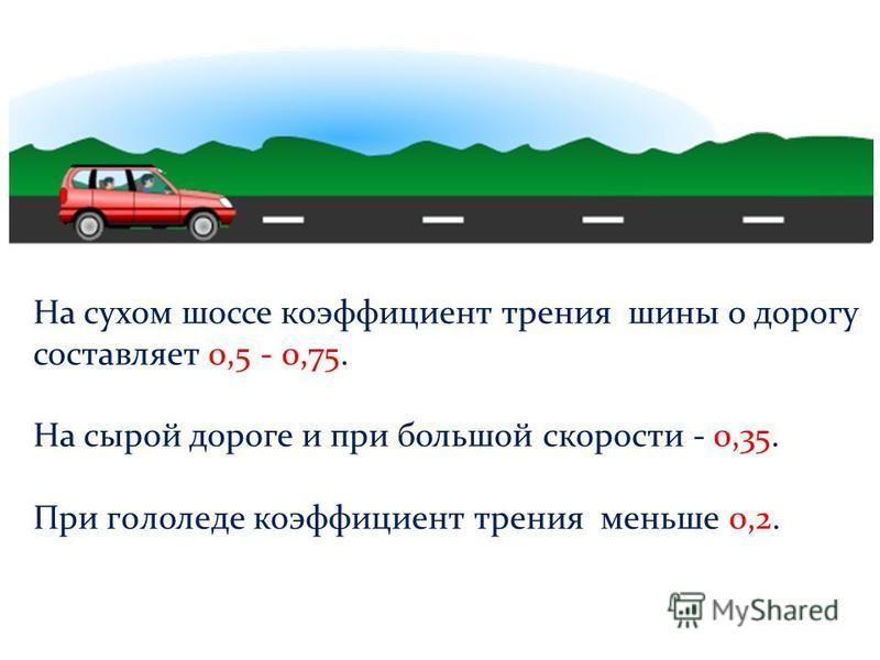 На сухом шоссе коэффициент трения шины о дорогу составляет 0,5 - 0,75. На сырой дороге и при большой скорости - 0,35. При гололеде коэффициент трения меньше 0,2.
