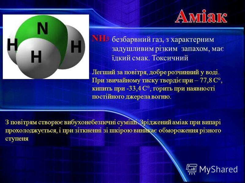NH 3 безбарвний газ, з характерним задушливим різким запахом, має їдкий смак. Токсичний Легший за повітря, добре розчинний у воді. При звичайному тиску твердіє при – 77,8 С°, кипить при -33,4 С°, горить при наявності постійного джерела вогню. З повіт