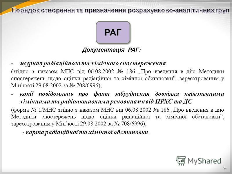 54 -журнал радіаційного та хімічного спостереження (згідно з наказом МНС від 06.08.2002 186 Про введення в дію Методики спостережень щодо оцінки радіаційної та хімічної обстановки, зареєстрованим у Мінюсті 29.08.2002 за 708/6996); -копії повідомлень