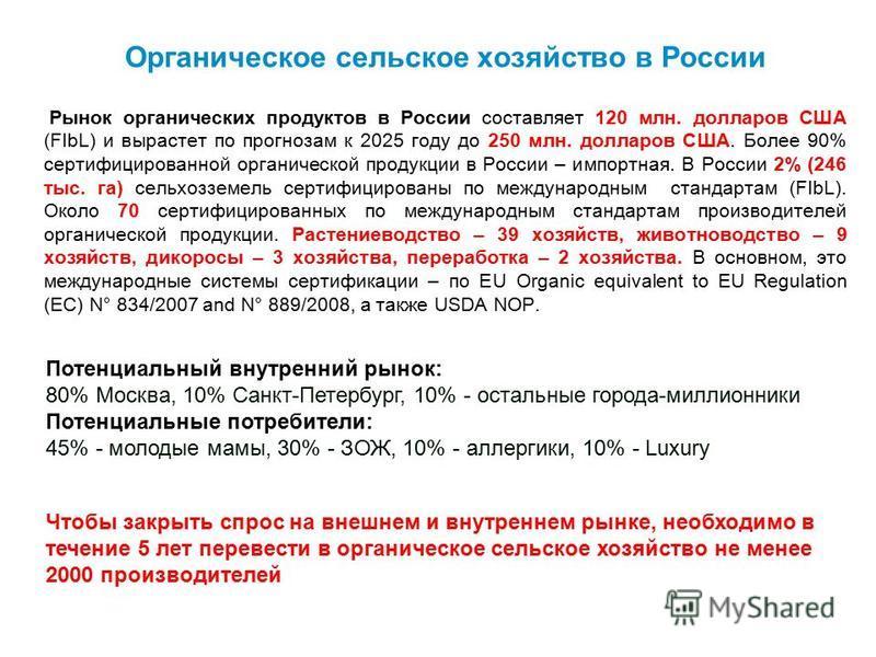 Органическое сельское хозяйство в России Рынок органических продуктов в России составляет 120 млн. долларов США (FIbL) и вырастет по прогнозам к 2025 году до 250 млн. долларов США. Более 90% сертифицированной органической продукции в России – импортн