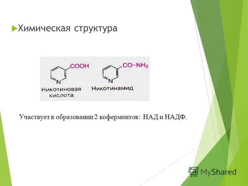 Химическая структура Участвует в образовании 2 коферментов: НАД и НАДФ.