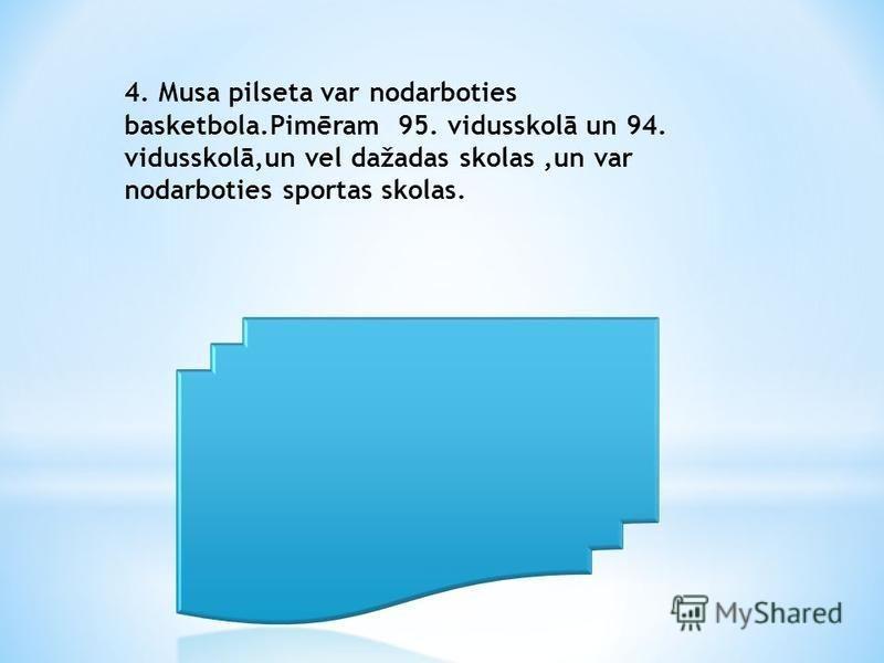4. Musa pilseta var nodarboties basketbola.Pimēram 95. vidusskolā un 94. vidusskolā,un vel dažadas skolas,un var nodarboties sportas skolas.