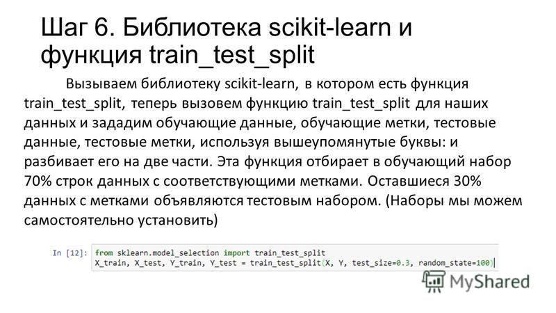 Шаг 6. Библиотека scikit-learn и функция train_test_split Вызываем библиотеку scikit-learn, в котором есть функция train_test_split, теперь вызовем функцию train_test_split для наших данных и зададим обучающие данные, обучающие метки, тестовые данные