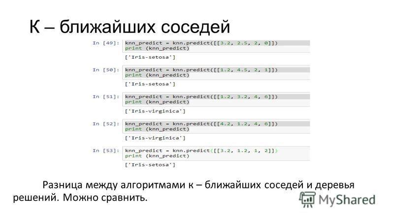 К – ближайших соседей Разница между алгоритмами к – ближайших соседей и деревья решений. Можно сравнить.