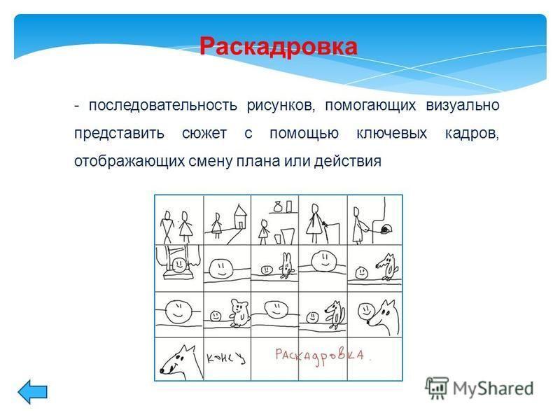 Раскадровка - последовательность рисунков, помогающих визуально представить сюжет с помощью ключевых кадров, отображающих смену плана или действия