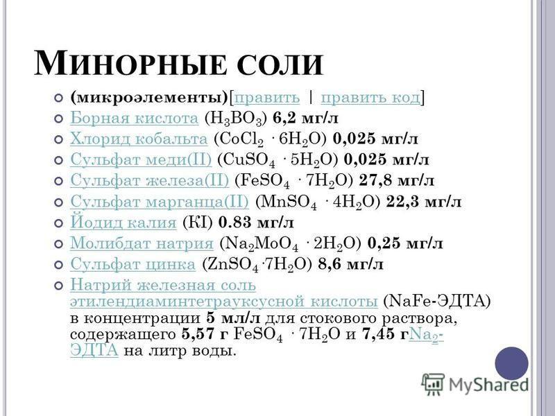 М ИНОРНЫЕ СОЛИ (микроэлементы) [править | править код]править код Борная кислота (Н 3 ВО 3 ) 6,2 мг/л Борная кислота Хлорид кобальта (CoCl 2 · 6Н 2 О) 0,025 мг/л Хлорид кобальта Сульфат меди(II) (CuSO 4 · 5Н 2 О) 0,025 мг/л Сульфат меди(II) Сульфат ж