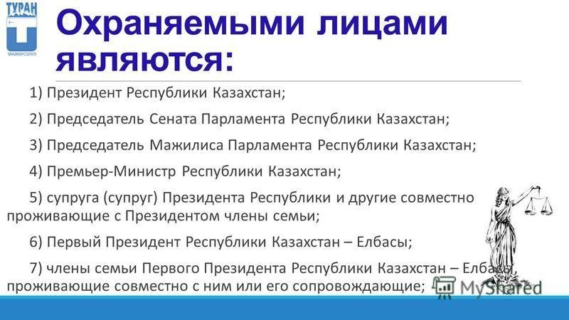 Охраняемыми лицами являются: 1) Президент Республики Казахстан; 2) Председатель Сената Парламента Республики Казахстан; 3) Председатель Мажилиса Парламента Республики Казахстан; 4) Премьер-Министр Республики Казахстан; 5) супруга (супруг) Президента
