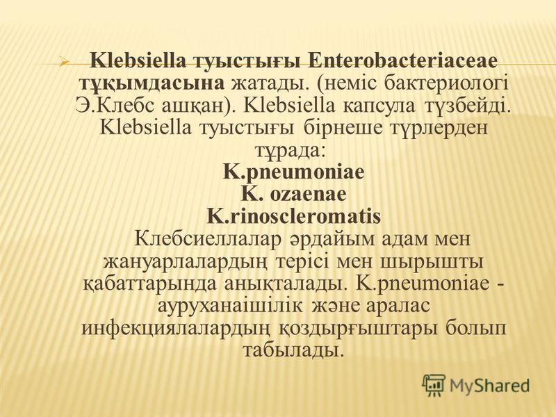 Klebsiella туыстығы Enterobacteriaceae тұқымдасына жатады. (неміс бактериологі Э.Клебс ашқан). Klebsiella капсула түзбейді. Klebsiella туыстығы бірнеше түрлерден тұрада: K.pneumoniae K. ozaenae K.rinoscleromatis Клебсиеллалар әрдайым адам мен жануарл