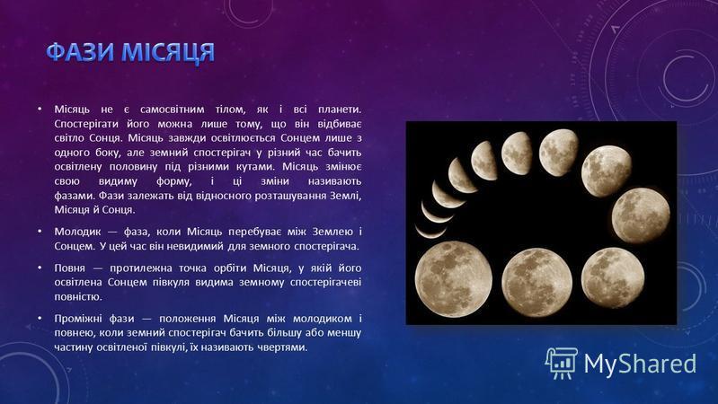 Місяць не є самосвітним тілом, як і всі планети. Спостерігати його можна лише тому, що він відбиває світло Сонця. Місяць завжди освітлюється Сонцем лише з одного боку, але земний спостерігач у різний час бачить освітлену половину під різними кутами.