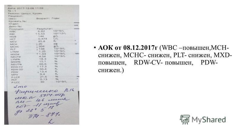 АОК от 08.12.2017 г (WBC –повышен,MCH- снижен, MCHC- снижен, PLT- снижен, MXD- повышен, RDW-CV- повышен, PDW- снижен.)