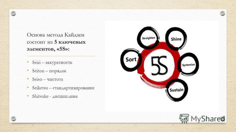 Основа метода Кайдзен состоит из 5 ключевых элементов, «5S»: Seiri – аккуратность Seiton – порядок Seiso – чистота Seiketsu – стандартизированные Shitsuke - дисциплина