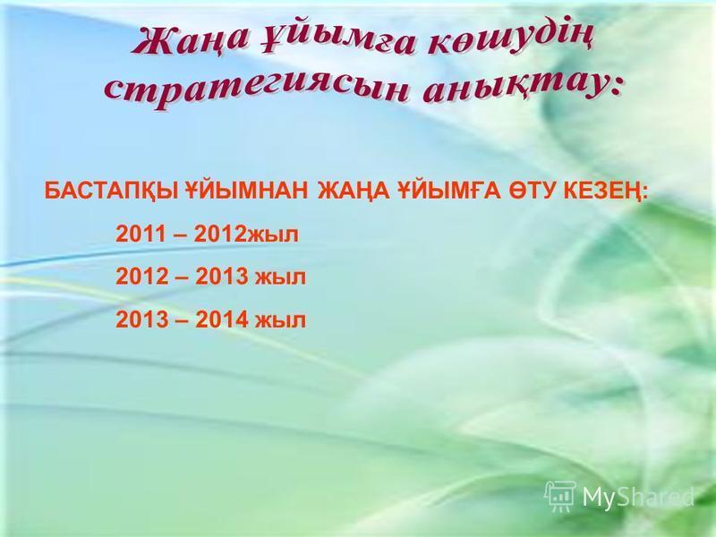 БАСТАПҚЫ ҰЙЫМНАН ЖАҢА ҰЙЫМҒА ӨТУ КЕЗЕҢ: 2011 – 2012 жыл 2012 – 2013 жыл 2013 – 2014 жыл