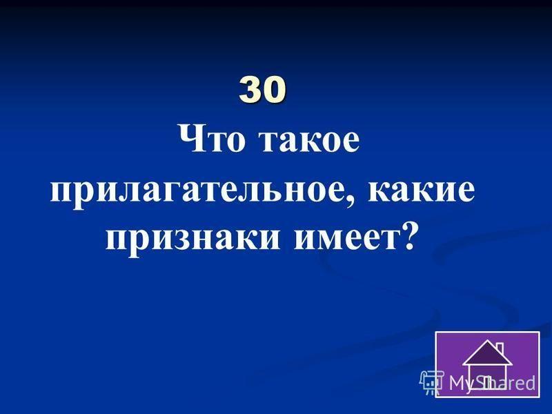 30 30 Что такое прилагательное, какие признаки имеет?