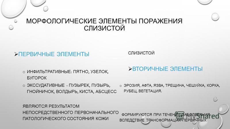 МОРФОЛОГИЧЕСКИЕ ЭЛЕМЕНТЫ ПОРАЖЕНИЯ СЛИЗИСТОЙ ПЕРВИЧНЫЕ ЭЛЕМЕНТЫ o ИНФИЛЬТРАТИВНЫЕ : ПЯТНО, УЗЕЛОК, БУГОРОК o ЭКССУДАТИВНЫЕ - ПУЗЫРЕК, ПУЗЫРЬ, ГНОЙНИЧОК, ВОЛДЫРЬ, КИСТА, АБСЦЕСС ЯВЛЯЮТСЯ РЕЗУЛЬТАТОМ НЕПОСРЕДСТВЕННОГО ПЕРВОНАЧАЛЬНОГО ПАТОЛОГИЧЕСКОГО СО