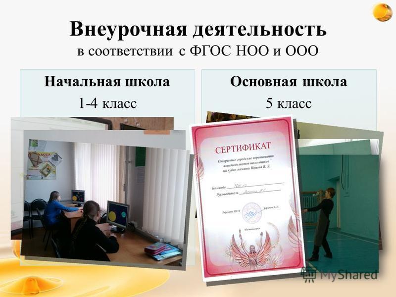 Внеурочная деятельность в соответствии с ФГОС НОО и ООО Начальная школа 1-4 класс Основная школа 5 класс