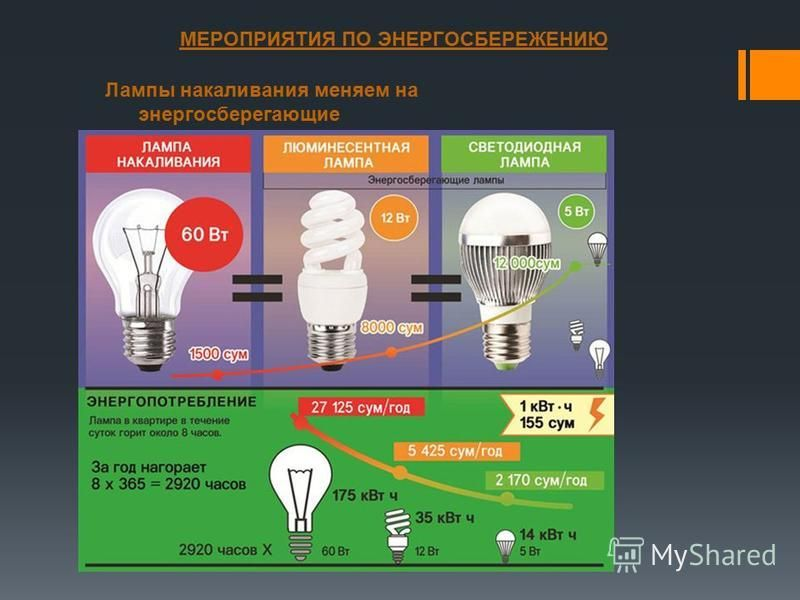 МЕРОПРИЯТИЯ ПО ЭНЕРГОСБЕРЕЖЕНИЮ Лампы накаливания меняем на энергосберегающие