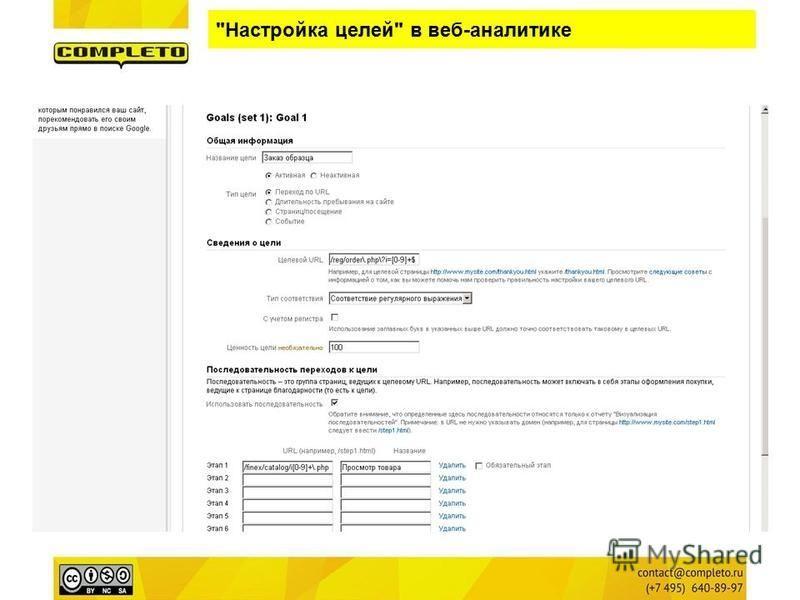 Настройка целей в веб-аналитике