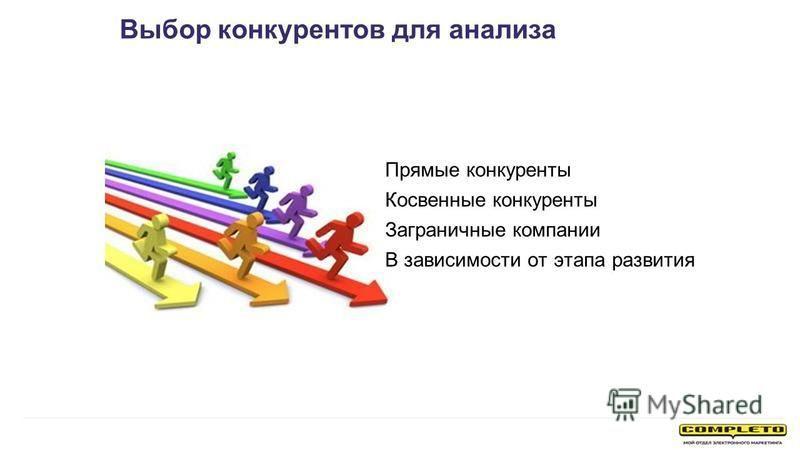 Прямые конкуренты Косвенные конкуренты Заграничные компании В зависимости от этапа развития Выбор конкурентов для анализа