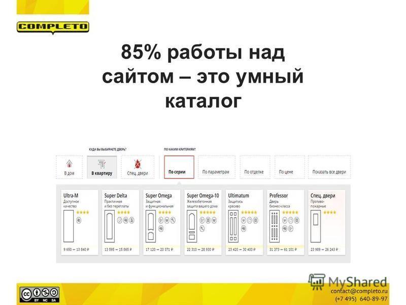 85% работы над сайтом – это умный каталог
