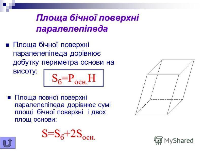 Об'єм паралелепіпеда Обєм Обєм прямокутного паралелепіпеда з лінійними розмірами a, b, c Об'єм паралелепіпеда дорівнює добутку площі основи на висоту : V=abc V=S осн. H a b c обчислюється за формулою