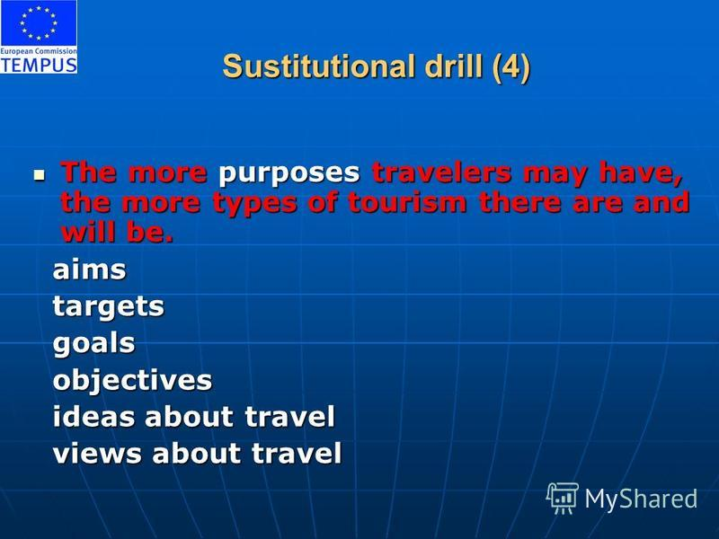 Sustitutional drill (4) The more purposes travelers may have, the more types of tourism there are and will be. The more purposes travelers may have, the more types of tourism there are and will be. aims aims targets targets goals goals objectives obj