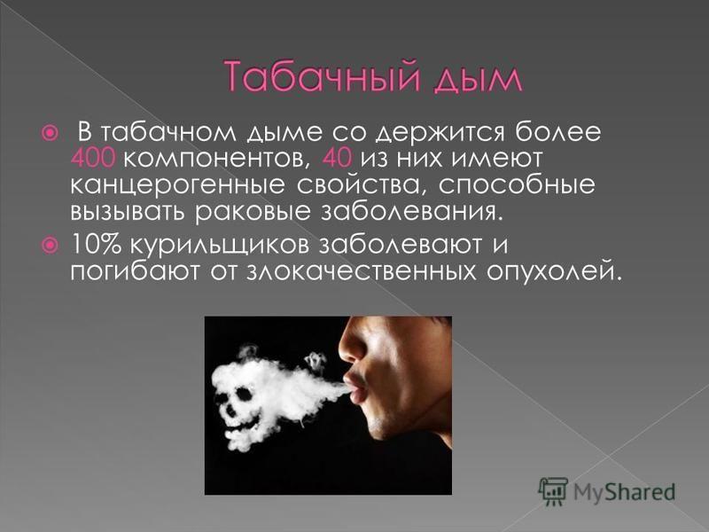 В табачном дыме со держится более 400 компонентов, 40 из них имеют канцерогенные свойства, способные вызывать раковые заболевания. 10% курильщиков заболевают и погибают от злокачественных опухолей.