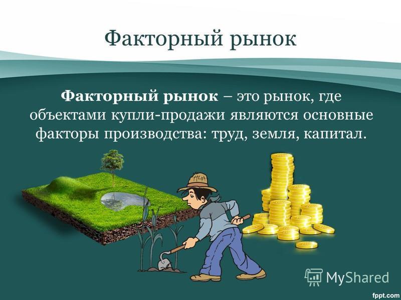 Факторный рынок Факторный рынок – это рынок, где объектами купли-продажи являются основные факторы производства: труд, земля, капитал.