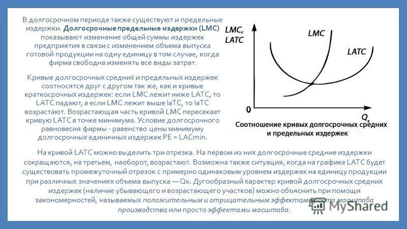 В долгосрочном периоде также существуют и предельные издержки. Долгосрочные предельные издержки (LMC) показывают изменение общей суммы издержек предприятия в связи с изменением объема выпуска готовой продукции на одну единицу в том случае, когда фирм