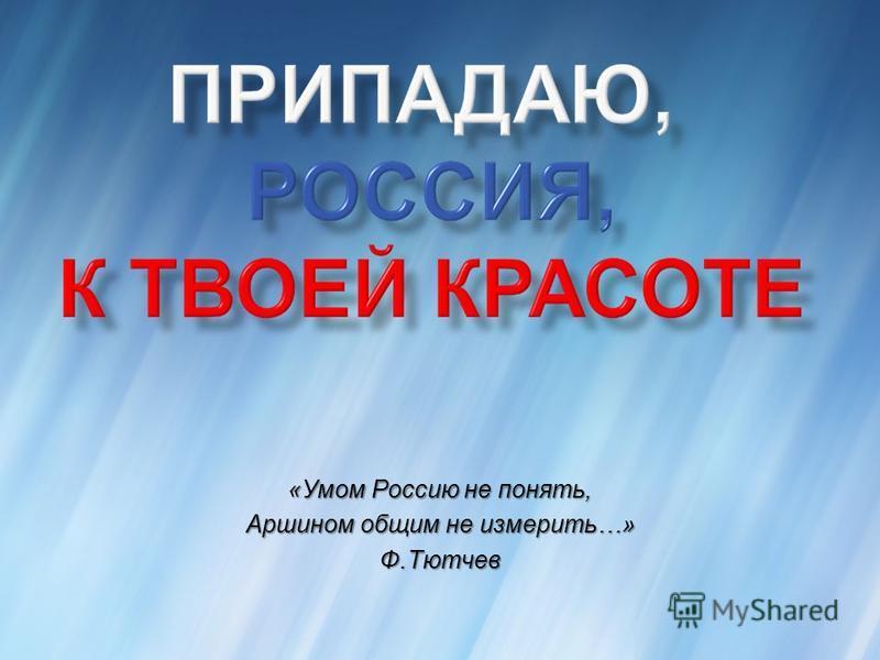 «Умом Россию не понять, Аршином общим не измерить…» Ф.Тютчев