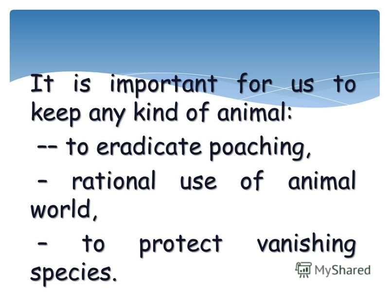 It is important for us to keep any kind of animal: –– to eradicate poaching, –– to eradicate poaching, – rational use of animal world, – rational use of animal world, – to protect vanishing species. – to protect vanishing species.