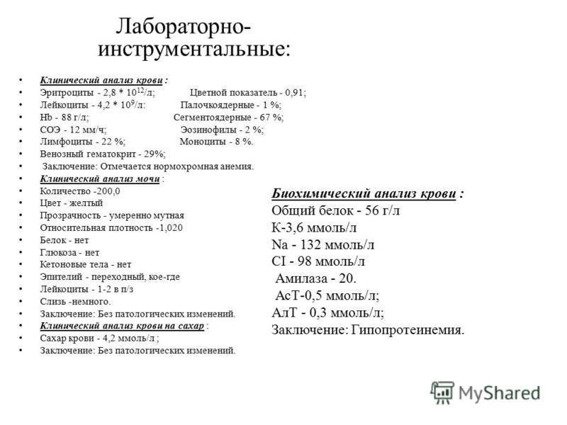 Лабораторно- инструментальные: Клинический анализ крови : Эритроциты - 2,8 * 10 12 /л; Цветной показатель - 0,91; Лейкоциты - 4,2 * 10 9 /л: Палочкоядерные - 1 %; Hb - 88 г/л; Сегментоядерные - 67 %; СОЭ - 12 мм/ч; Эозинофилы - 2 %; Лимфоциты - 22 %;
