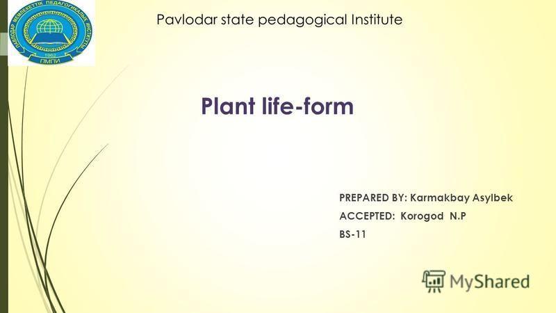 Plant life-form PREPARED BY: Karmakbay Asylbek ACCEPTED: Korogod N.P BS-11