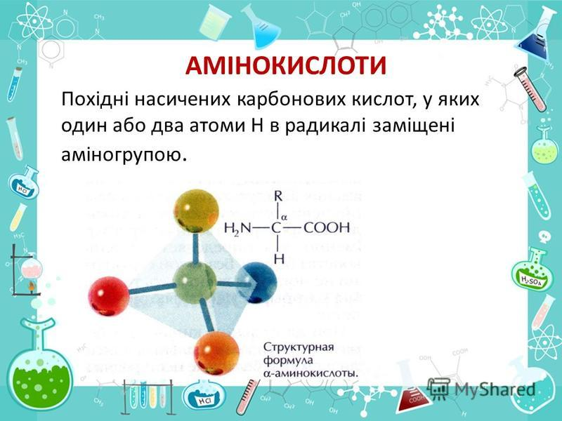 АМІНОКИСЛОТИ Похідні насичених карбонових кислот, у яких один або два атоми Н в радикалі заміщені аміногрупою.