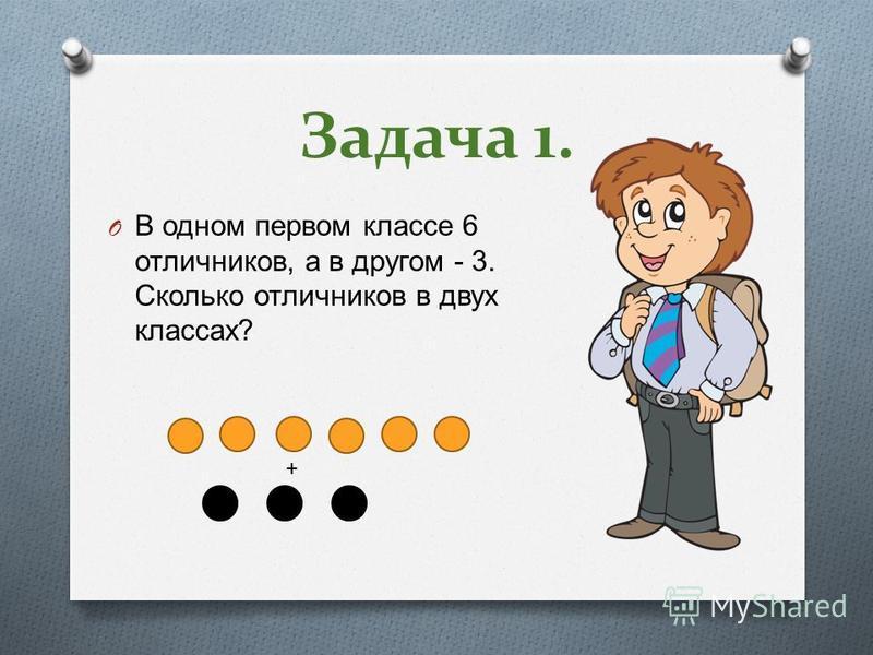 Задача 1. O В одном первом классе 6 отличников, а в другом - 3. Сколько отличников в двух классах ? +