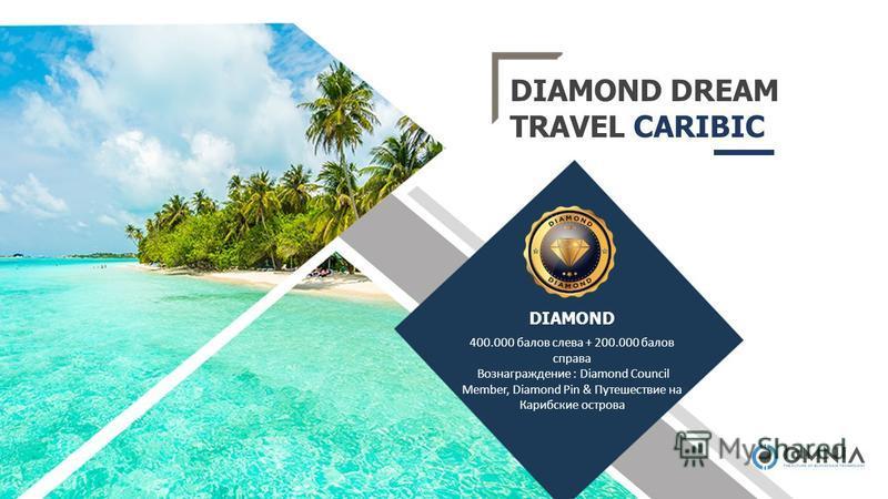 DIAMOND DREAM TRAVEL CARIBIC 400.000 балов слева + 200.000 балов справа Вознаграждение : Diamond Council Member, Diamond Pin & Путешествие на Карибские острова DIAMOND
