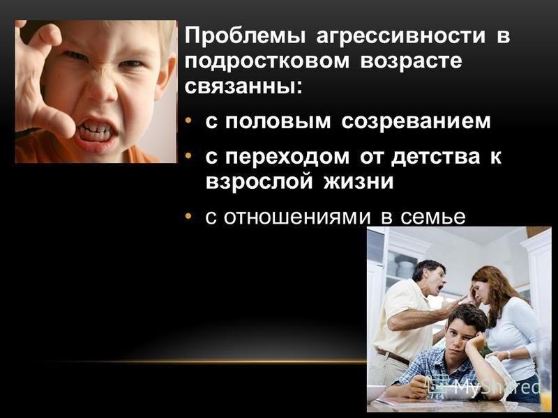 Проблемы агрессивности в подростковом возрасте связанны: с половым созреванием с переходом от детства к взрослой жизни с отношениями в семье