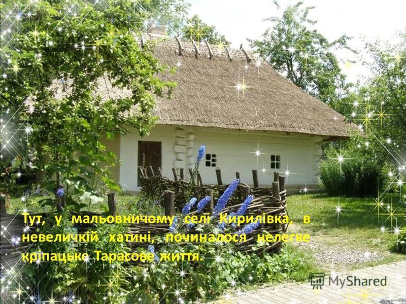 Тут, у мальовничому селі Кирилівка, в невеличкій хатині, починалося нелегке кріпацьке Тарасове життя.