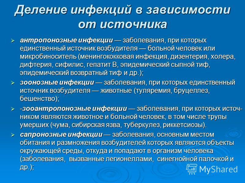 Деление инфекций в зависимости от источника антропонозные инфекции заболевания, при которых единственный источник возбудителя больной человек или микробоноситель (менингококковая инфекция, дизентерия, холера, дифтерия, сифилис, гепатит В, эпидемическ