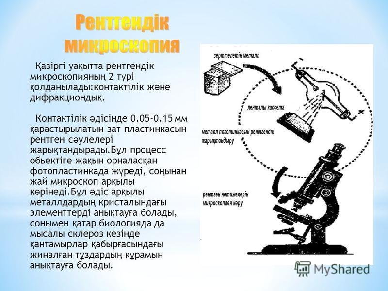 Қ азіргі уа қ ытта рентгендік микроскопияны ң 2 т ү рі қ олданылады:контактілік ж ә не дифракционды қ. Контактілік ә дісінде 0.05-0.15 мм қ арастырылатын зат пластинкасын рентген с ә улелері жары қ тандырады.Б ұ л процесс обьектіге жа қ ын орналас қ