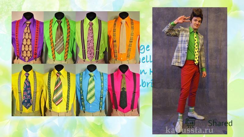 Die Männer trugen enge Hosen, lange zweireihigen Jacken, helle Hemden in Kombination mit bunten Krawatten und eine Sonnenbrille Die Männer trugen enge Hosen, lange zweireihigen Jacken, helle Hemden in Kombination mit bunten Krawatten und eine Sonnenb