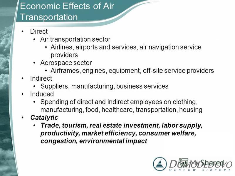 Economic Effects of Air Transportation Direct Air transportation sector Airlines, airports and services, air navigation service providers Aerospace sector Airframes, engines, equipment, off-site service providers Indirect Suppliers, manufacturing, bu