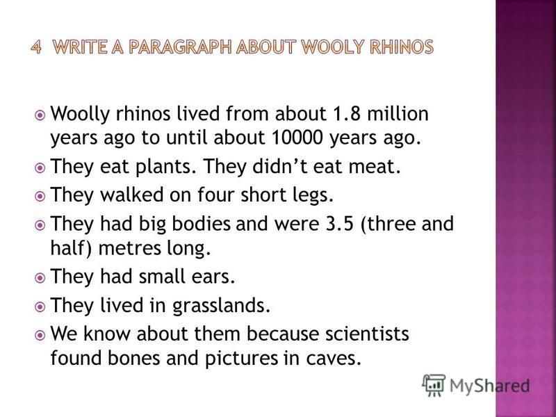 Woolly rhinos lived from about 1.8 million years ago to until about 10000 years ago. They eat plants. They didnt eat meat. They walked on four short legs. They had big bodies and were 3.5 (three and half) metres long. They had small ears. They lived