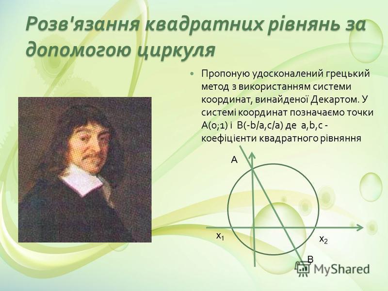Розв ' язання квадратних рівнянь за допомогою циркуля Пропоную удосконалений грецький метод з використанням системи координат, винайденої Декартом. У системі координат позначаємо точки А (0;1) і B (-b/a, c/a) де a,b,c - коефіцієнти квадратного рівнян
