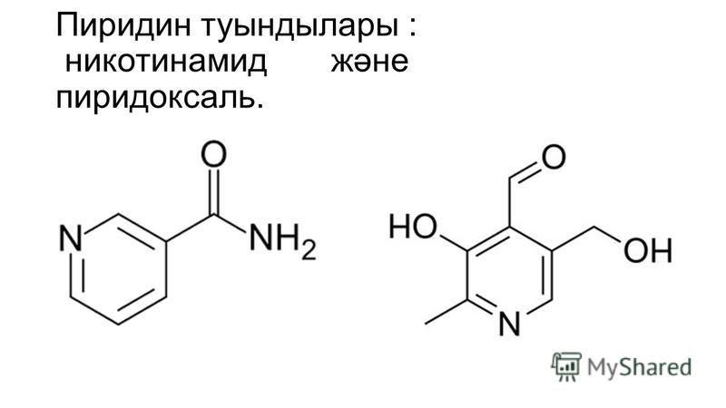 Пиридин туындылары : никотинамид және пиридоксаль.
